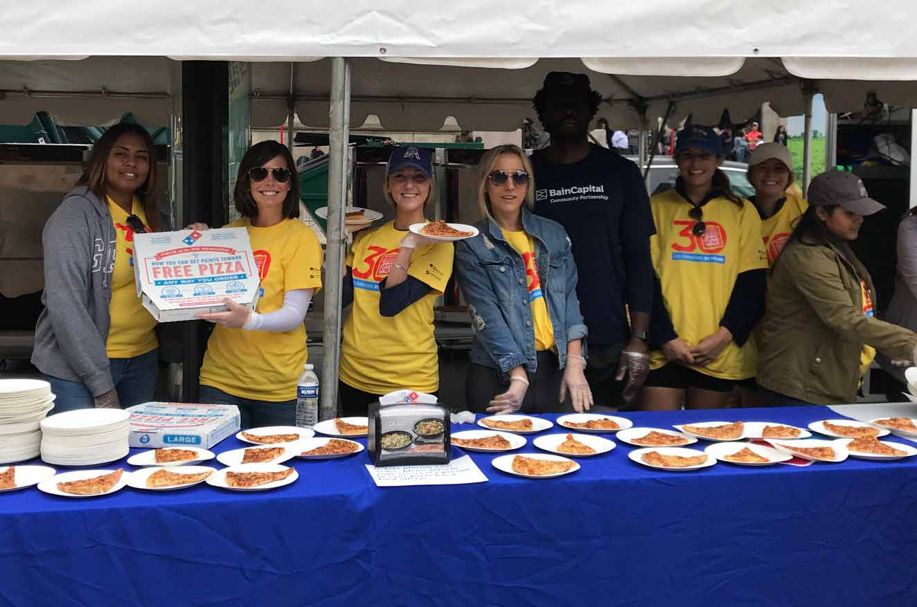 Bain Capital Partners with Dominos at the Boston Marathon Jimmy Fund Walk