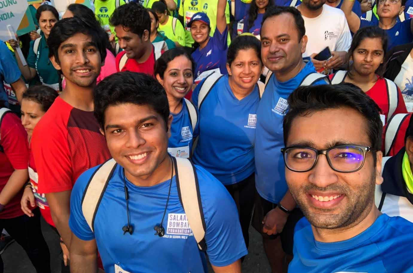 Employees in Mumbai Run the Tata Mumbai Marathon to Raise Funds for Salaam Bombay Foundation