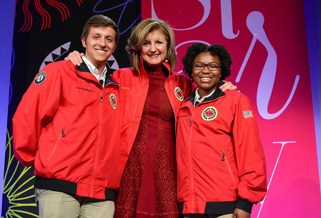 Arianna Huffington poses with City Year Corps members